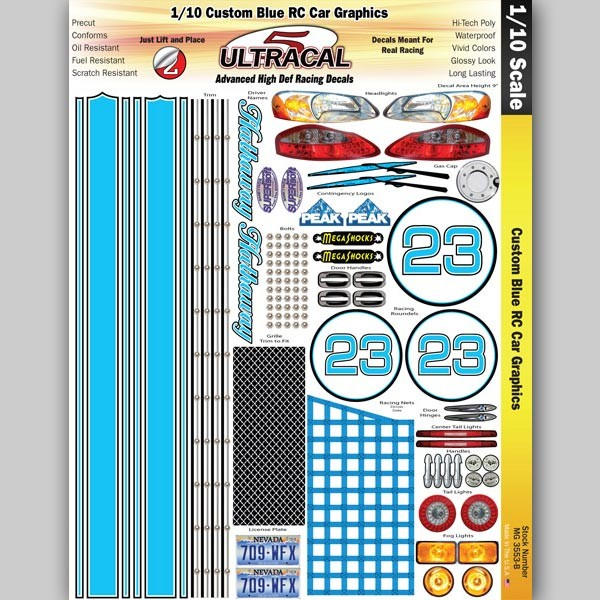 MG 3553-B UltraCal Custom Blue RC Car Graphics