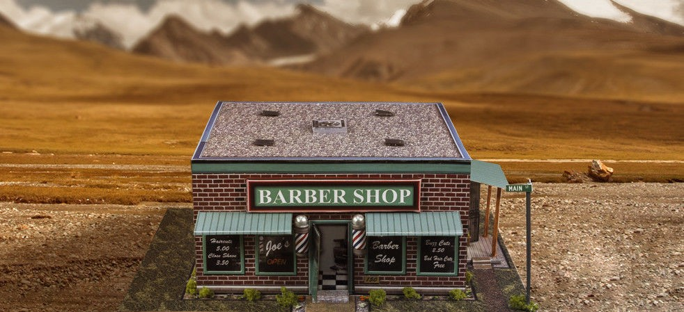 """BK 6409 1:64 Scale """"Barber Shop"""" Photo Real Scale Building Kit"""