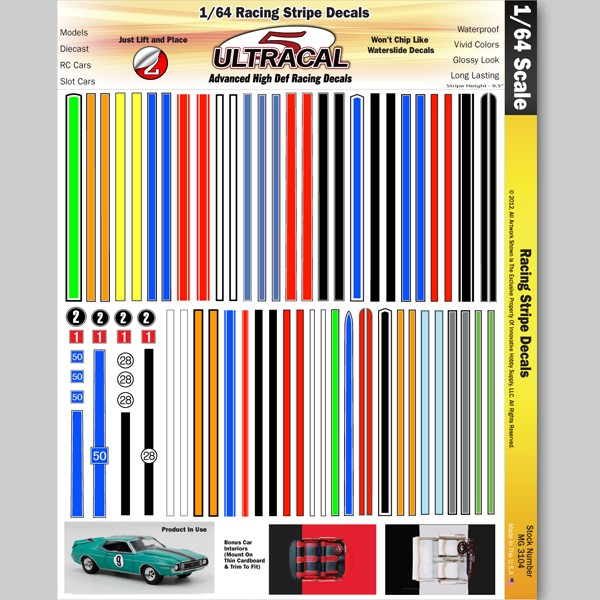 MG 3104 Utracal - Racing Stripe Decals - High Definition Racing Decals for 1:64 scale