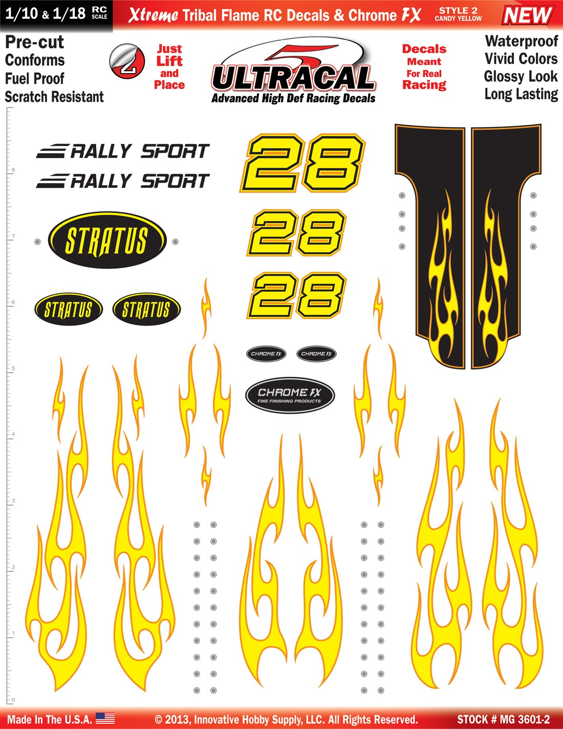 MG 3601-2 Ultracal Candy Yellow Xtreme Tribal Flame RC Decals & Chrome FX for 1:10 and 1:18 Scale