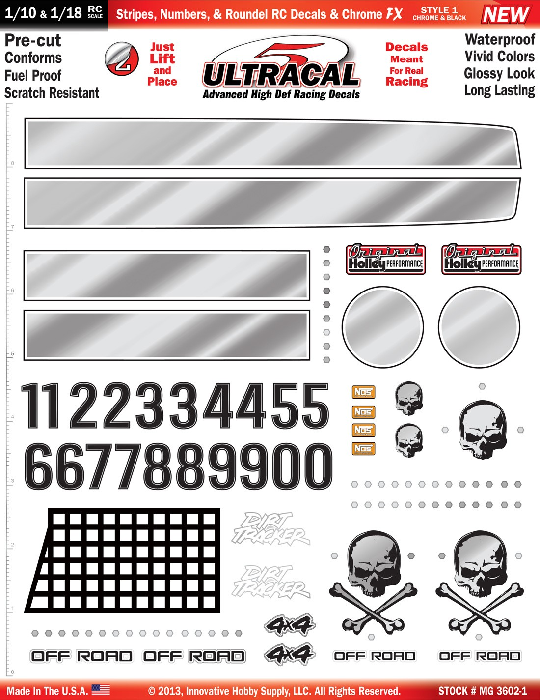 MG 3602-1 Ultracal Black Stripes, Numbers, & Roundel RC Decals & Chrome FX for 1:10 and 1:18 Scale