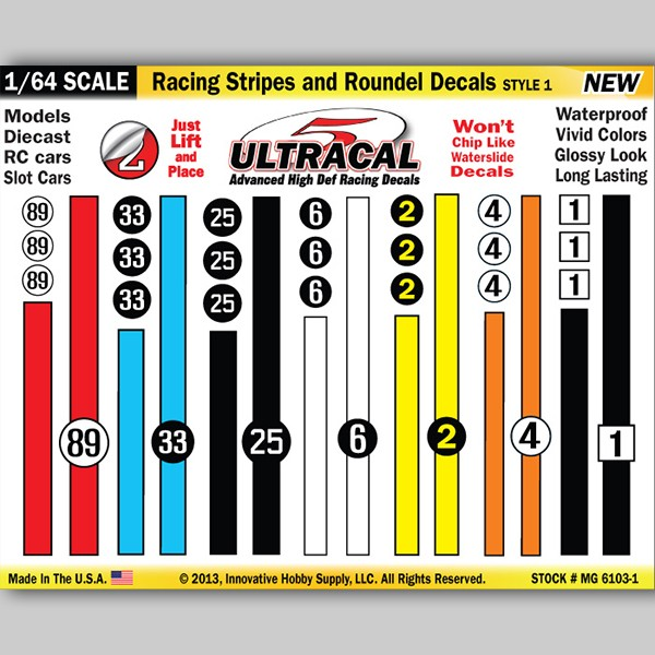 MG 6103-1 Ultracal Racing Stripes and Roundel Decals Style 1 1:64 Scale