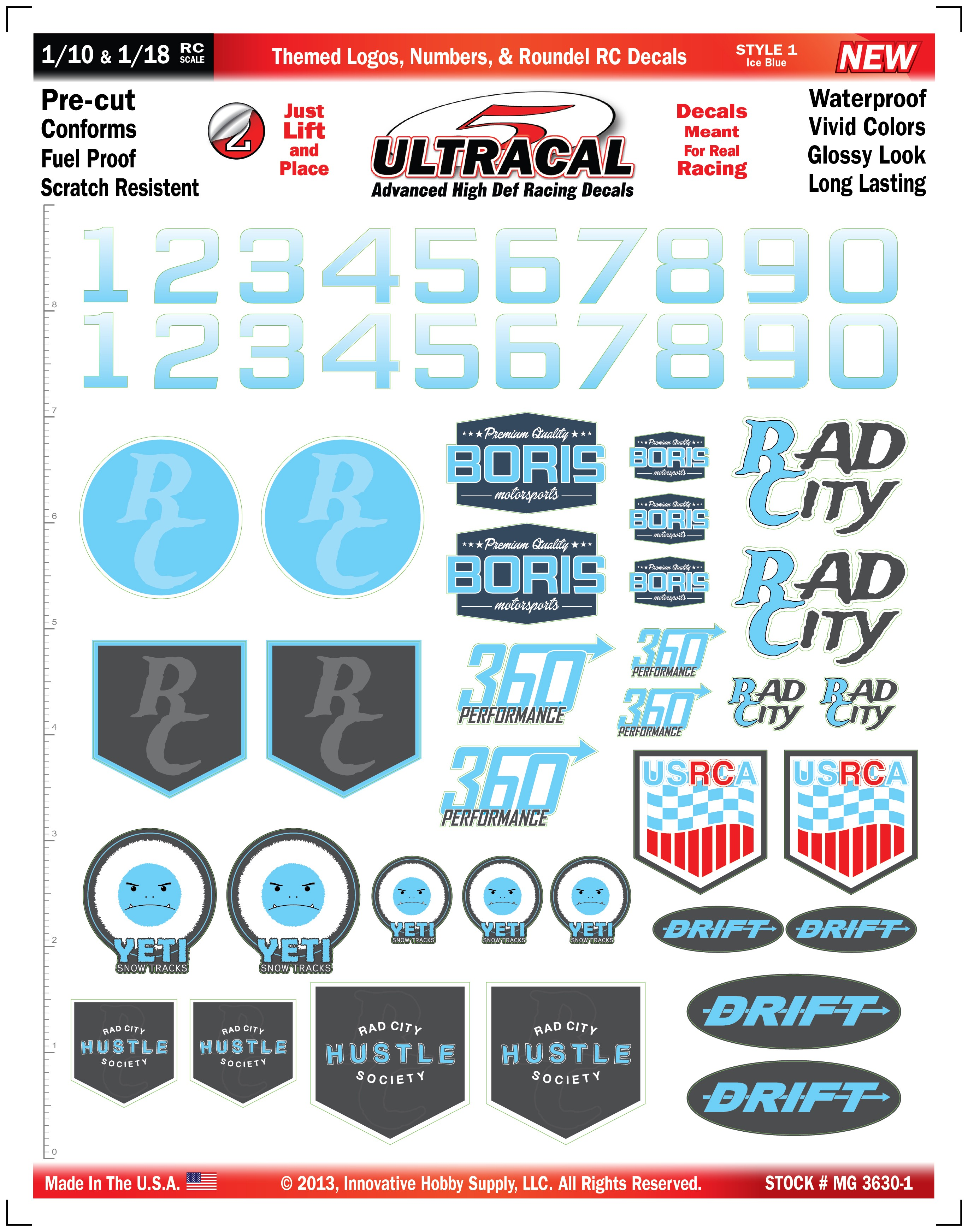 MG 3630-1 Ultracal Ice Blue Themed Logos, Numbers, & Roundel RC ...