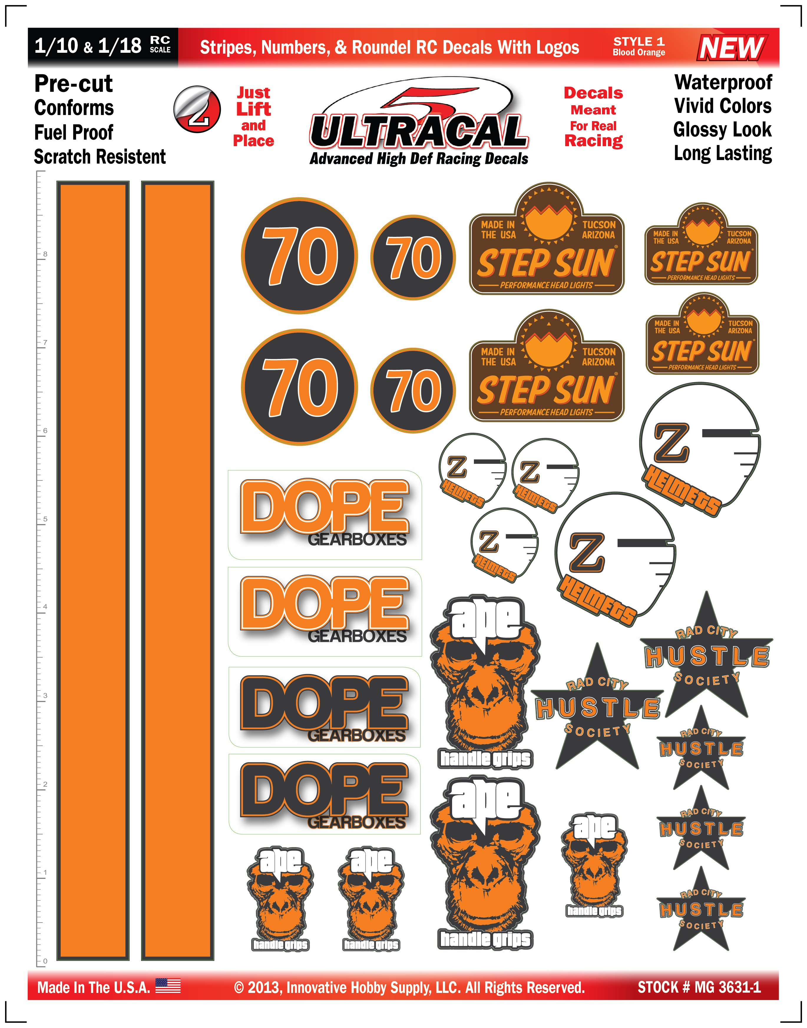 MG 3631-1 Ultracal Blood Orange Stripes, Numbers, & Roundel RC Decals with Logos for 1:10 and 1:18 Scale