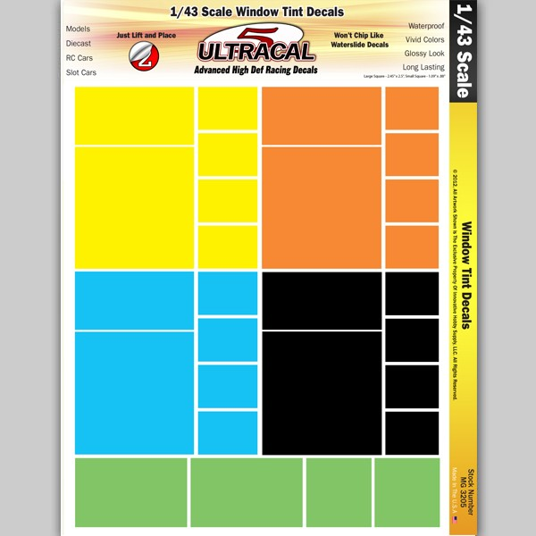 MG 3205 Ultracal Racing Scale Window Tint Decals 1:43 Scale