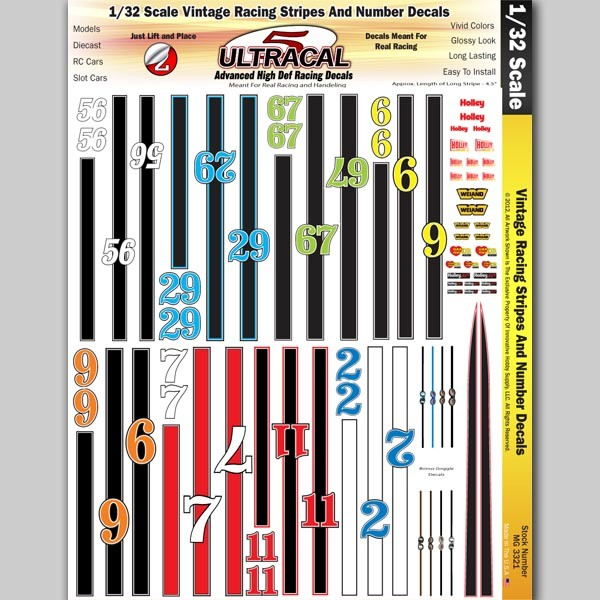MG 3321 Ultracal Vintage Racing Stripes and Number Decals for 1:32 Scale Applications