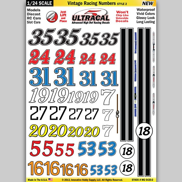 MG 6420-2 Ultracal Vintage Racing Numbers Style 2 Decals 1
