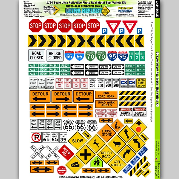 """PR 7400 """"Ultra Reflect"""" Photo Real Reflective Signs for 1/24 Scale"""