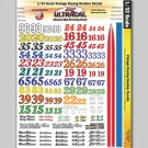 MG 3320 Ultracal Vintage Racing Number Decals for 1:32 Scale Applications