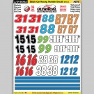 MG 6440-1 Ultracal Stock Car Racing Number Style 1 Decals 1:24 Scale