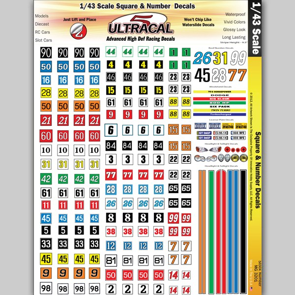 mg 3201 ultracal decals racing number and square decals