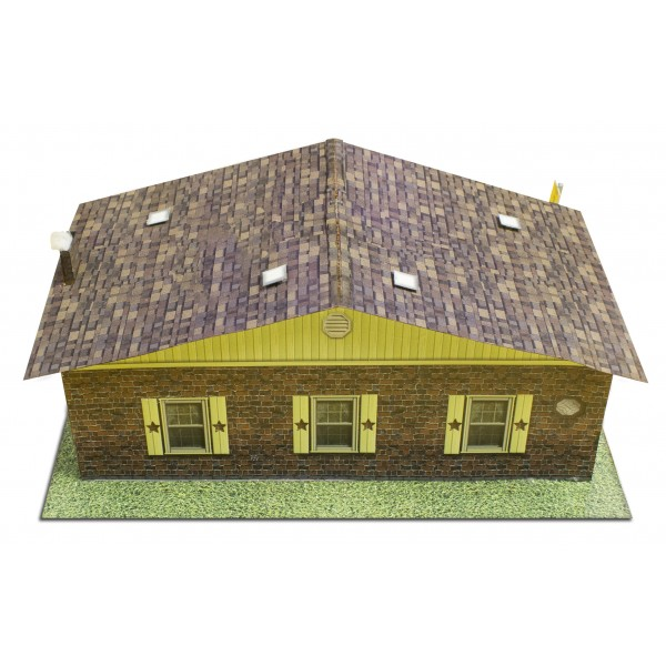 Bk 8700 1 87 scale sandstone brick rambler houses 1 87 for Brick kit homes