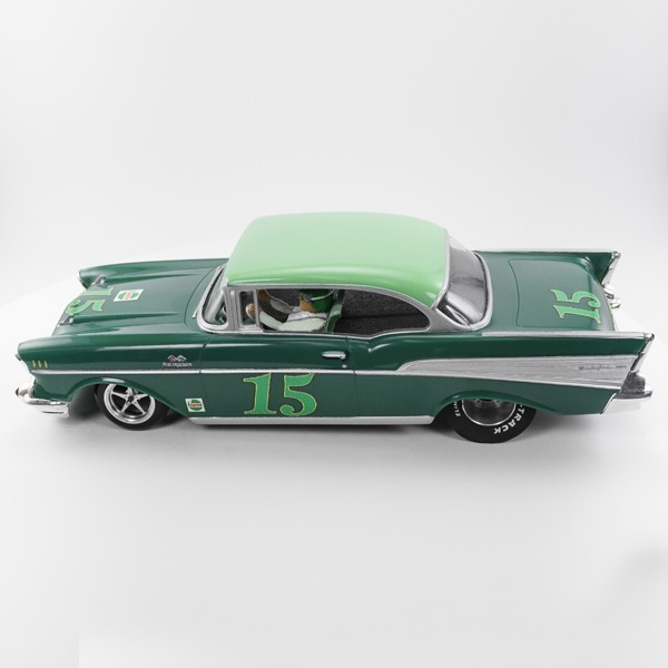 Stock Number: 16160 Green 57 Chev 2DR Drag Car by Parma/Revell