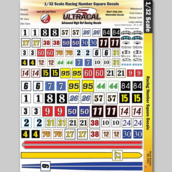 MG 3301 Ultracal Racing Number Squares for 1:32 Scale Applications
