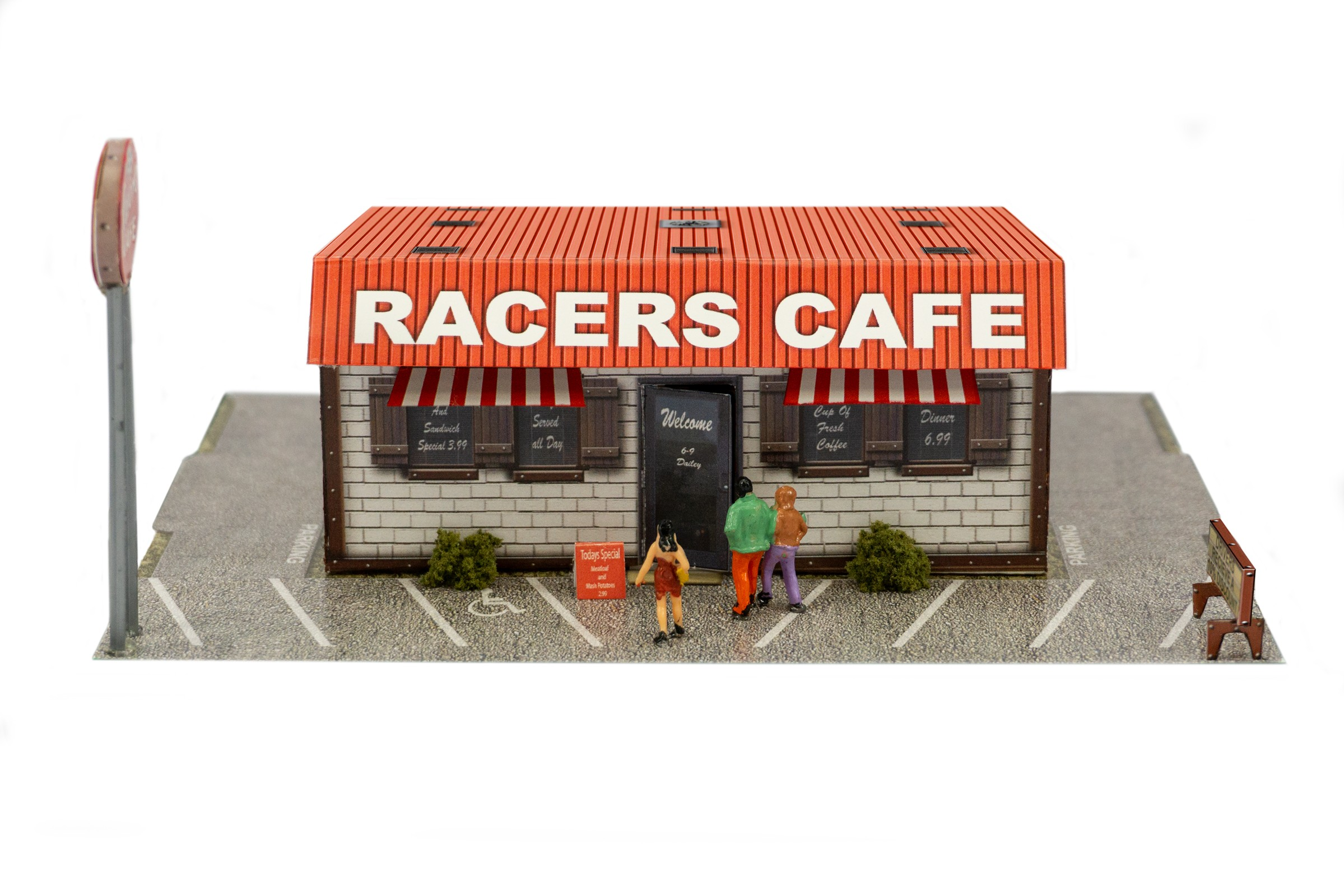 BK 4837 1:48 Scale Raceway Cafe Model Building Kit