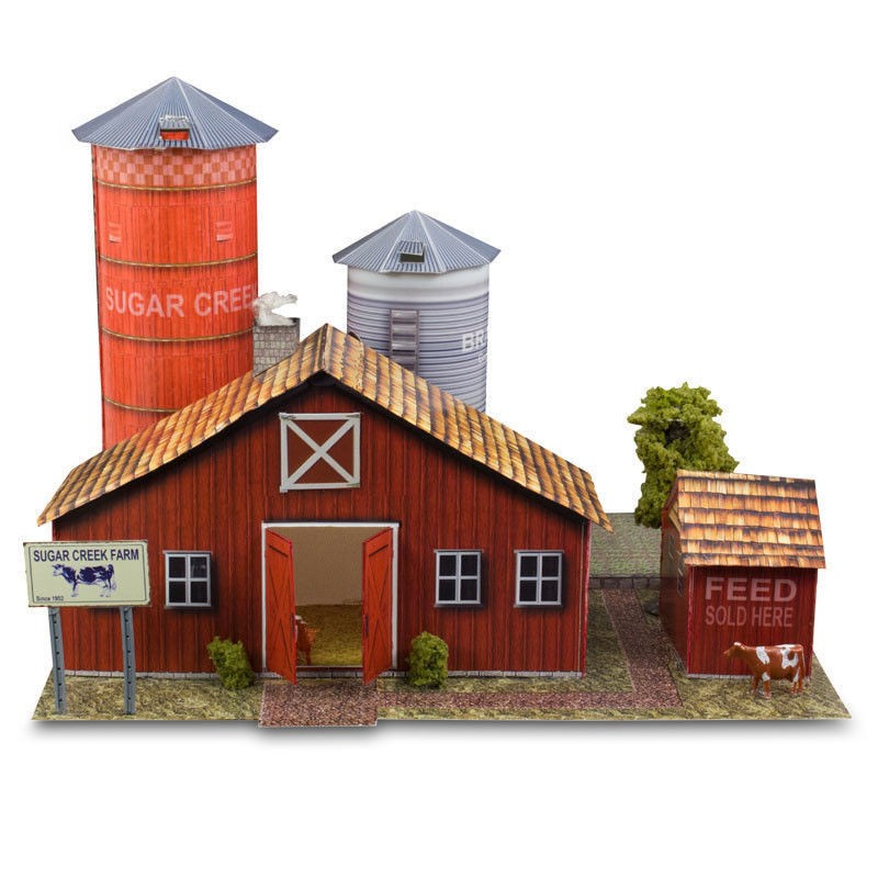 "BK 8709 1:87 Scale ""Farm Kit"" Photo Real Scale Building Kit"