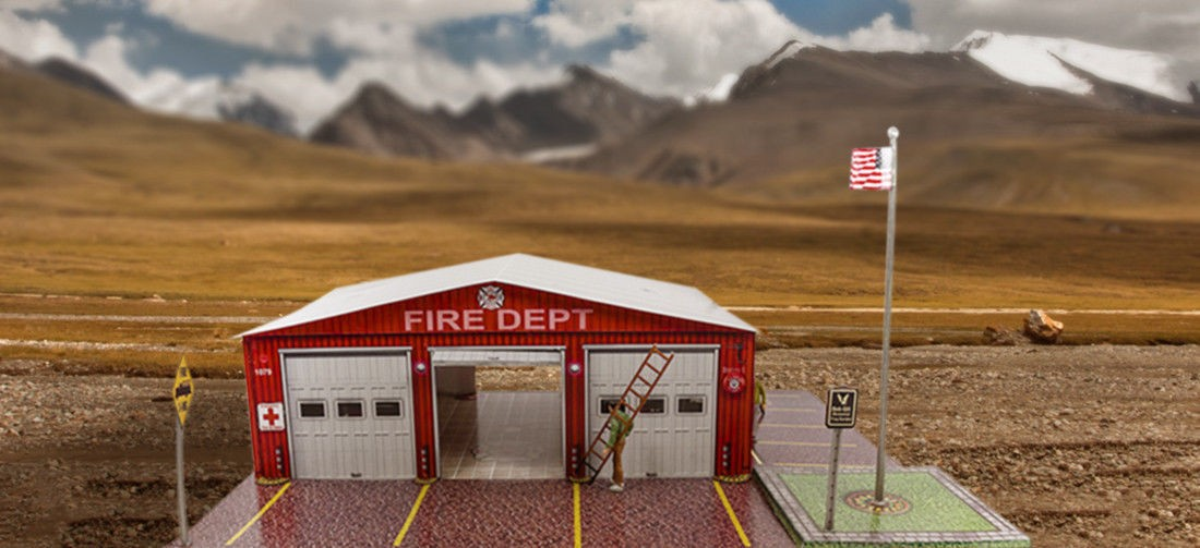 "BK 6414 1:64 Scale ""Fire Department"" Photo Real Scale Building Kit"