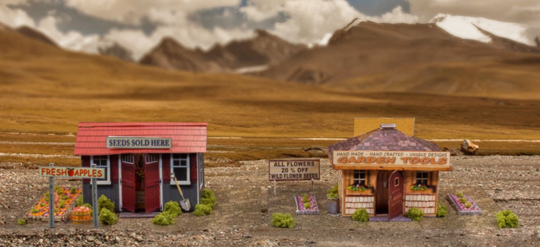 """BK 6403 1:64 Scale """"Garden Houses"""" Photo Real Scale Building Kit"""