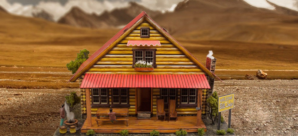 "BK 6416 1:64 Scale ""Log Cabin"" Photo Real Scale Building Kit"