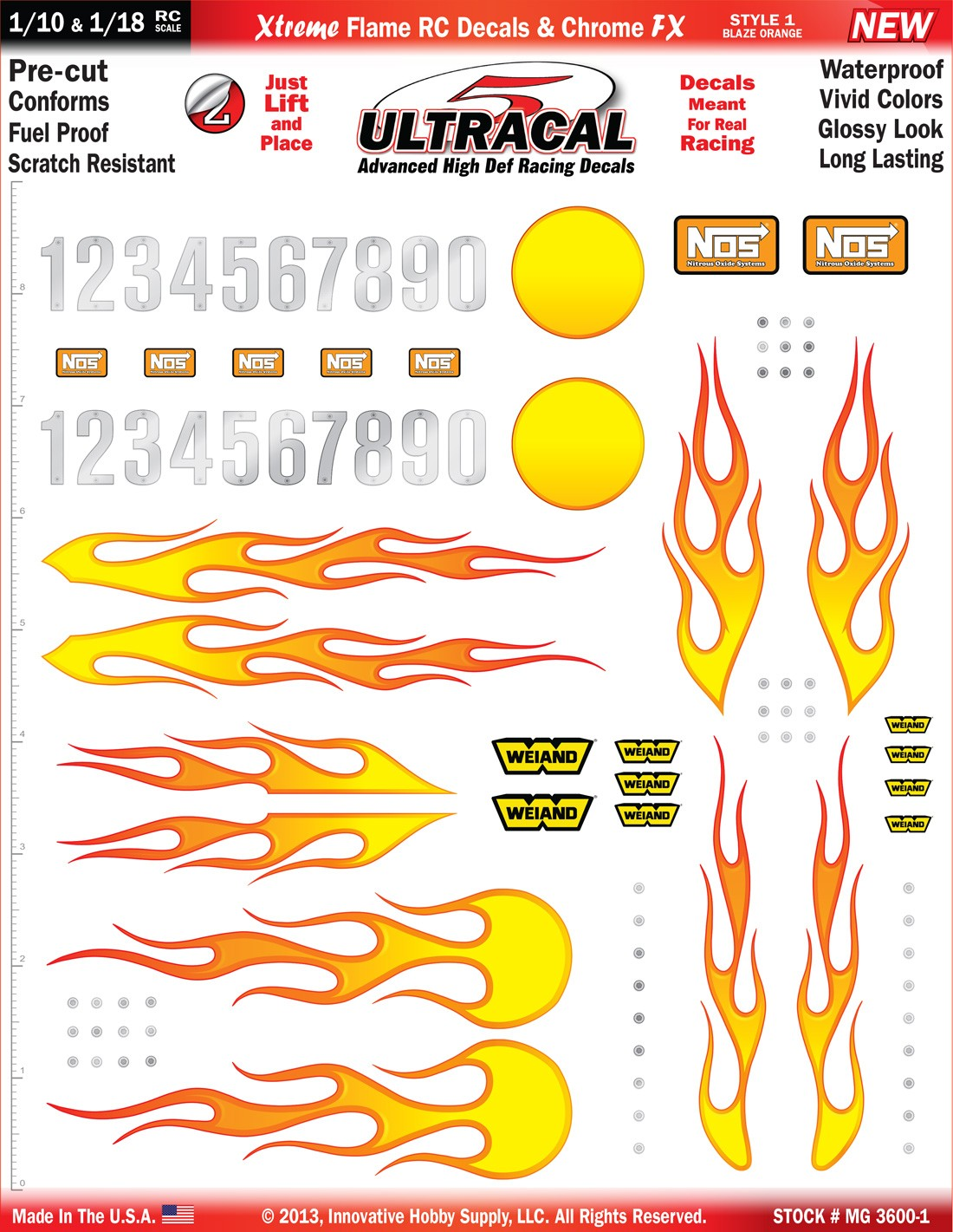 MG 3600-1 Ultracal Xtreme Flame RC Decals & Chrome FX Decals for 1:10 and 1:18 Scale