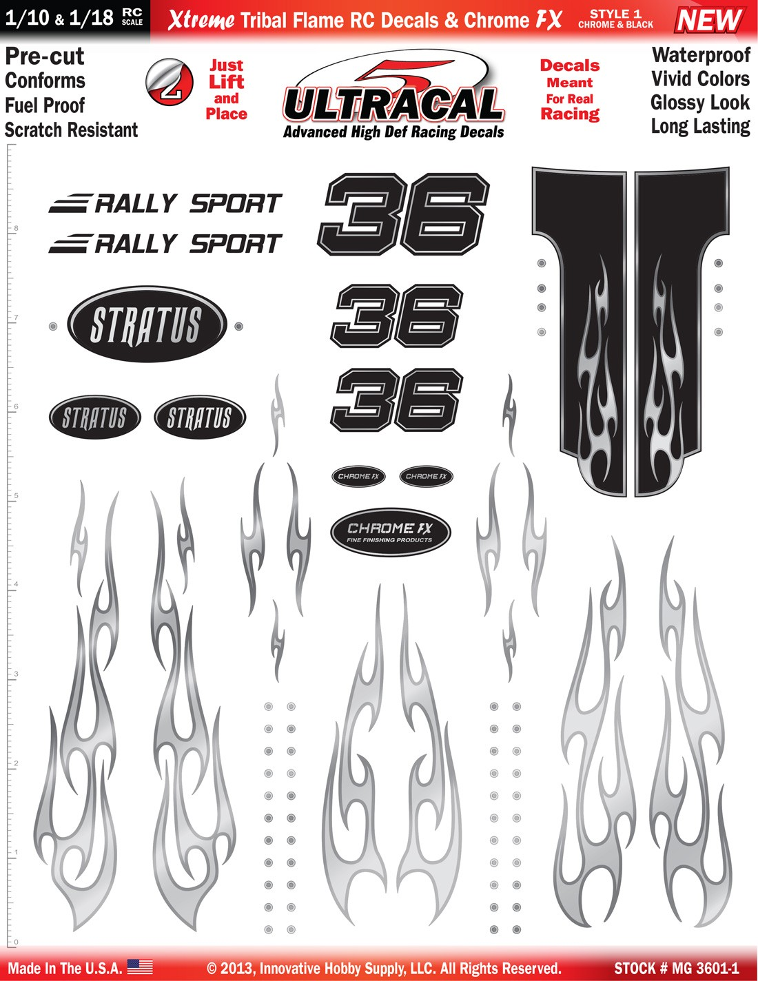 MG 3601-1 Ultracal Chrome & Black Xtreme Tribal Flame RC Decals & Chrome FX for 1:10 and 1:18 Scale