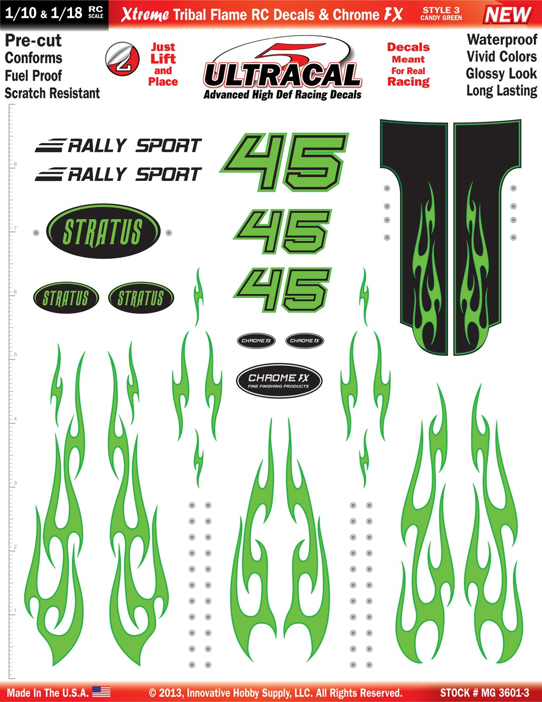 MG 3601-3 Ultracal Candy Green Xtreme Tribal Flame RC Decals & Chrome FX for 1:10 and 1:18 Scale