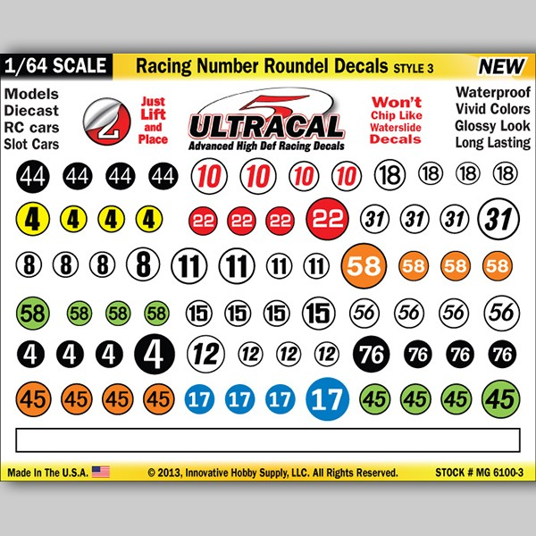 MG 6100-3 Ultracal Racing Number Roundel Decals Style 3 1:64 Scale