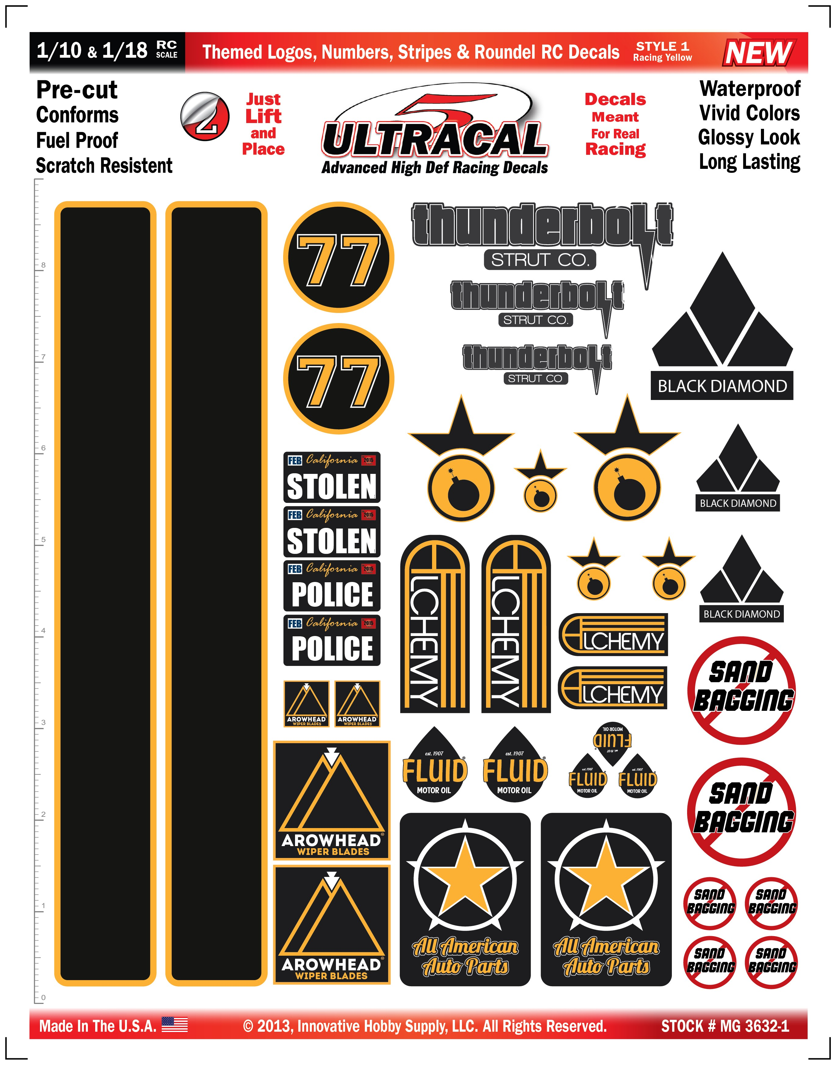 MG 3632-1 Ultracal Racing Yellow Themed Logos, Numbers, Stripes & Roundel RC Decals for 1:10 and 1:18 Scale
