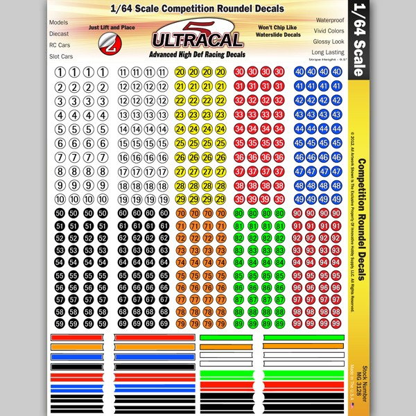 MG 3128 Ultracal Racing Competition Roundel Decals 1:64 HO Scale