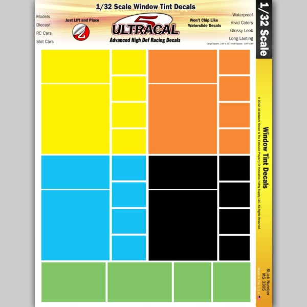 MG 3305 Ultracal Window Tint Decals for 1:32 Scale Applications