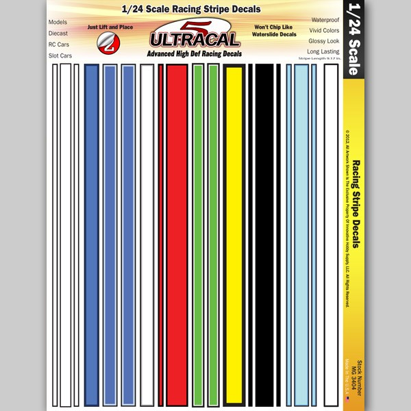 MG6418-2 1//24 High Def UltraCal Decals Fat Head Racing Stripe Decals Style 2