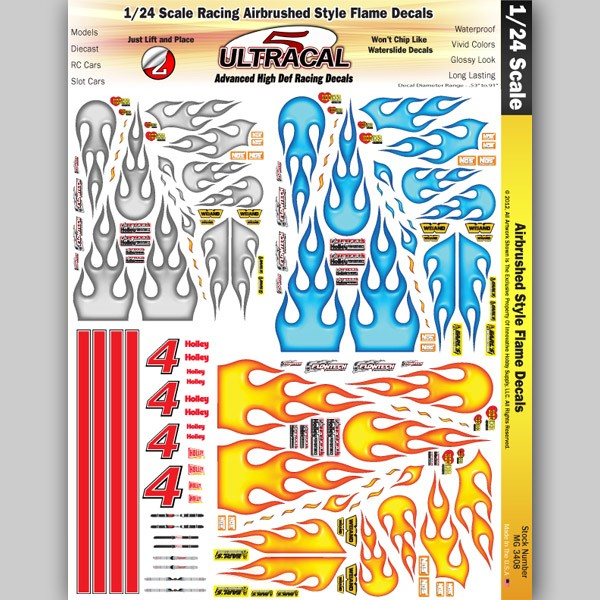 MG 3408 Ultracal Decals - Airbrushed Style Flames Decals