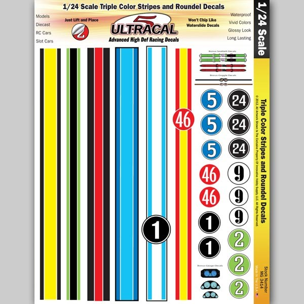 MG 3414 Ultracal Decals - Triple Color Racing Stripe and Roundel Decals