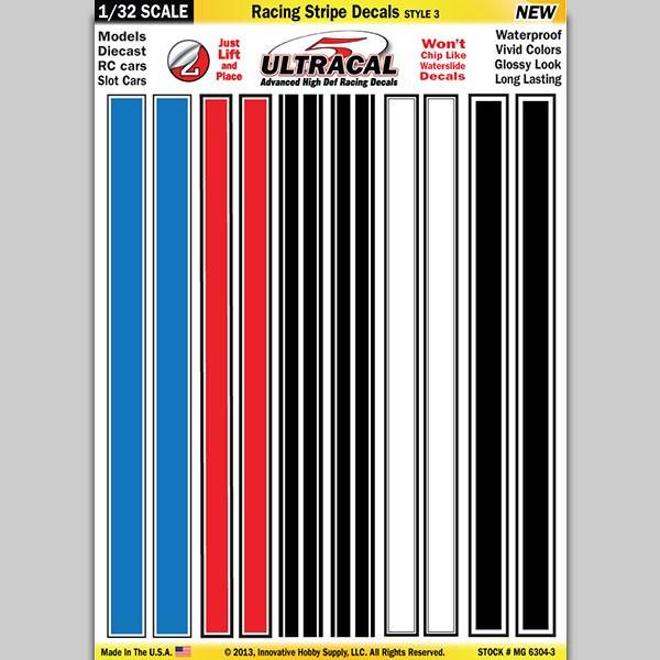 MG 6304-3 Ultracal Racing Stripe Style 3 Decals 1:32 Scale