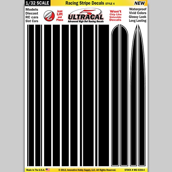 MG 6304-4 Ultracal Racing Stripe Style 4 Decals 1:32 Scale