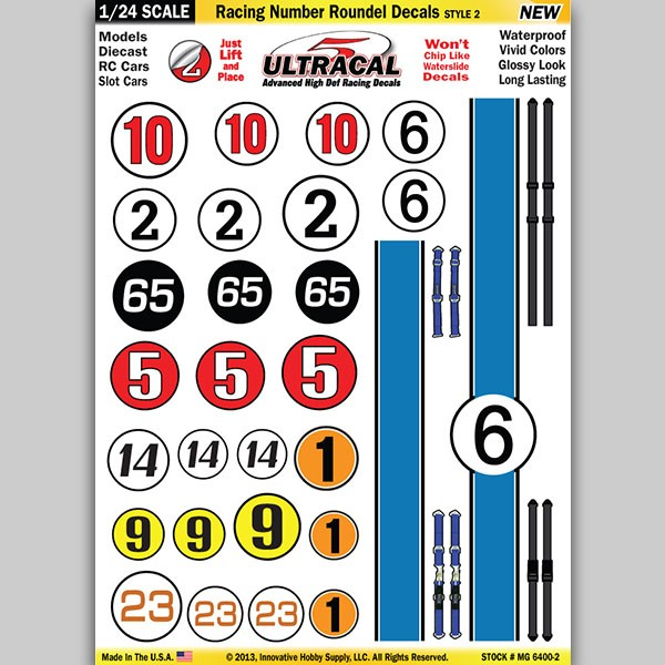 MG 6400-2 Ultracal Racing Number Roundel Style 2 Decals 1:24 Scale