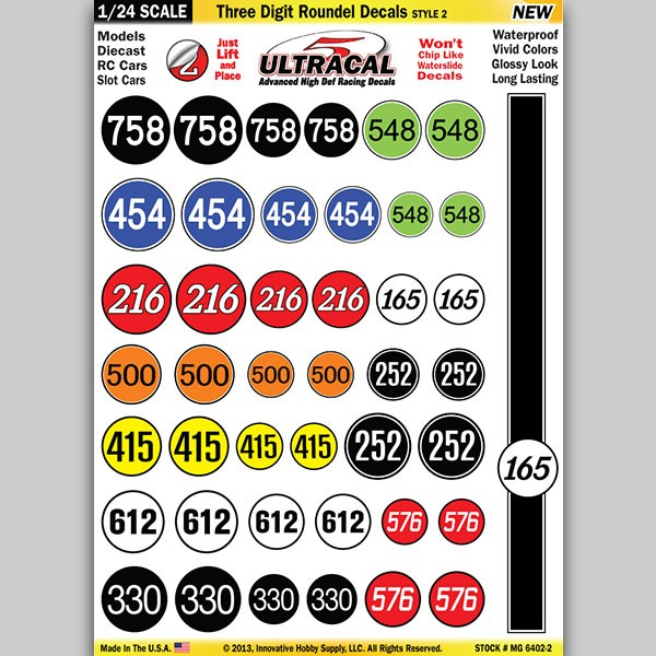MG 6402-2 Ultracal Three Digit Roundel Decals Style 2 Decals 1:24 Scale