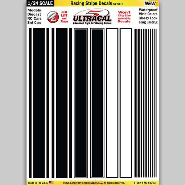 MG 6404-3 Ultracal Racing Stripe Style 3 Decals 1:24 Scale