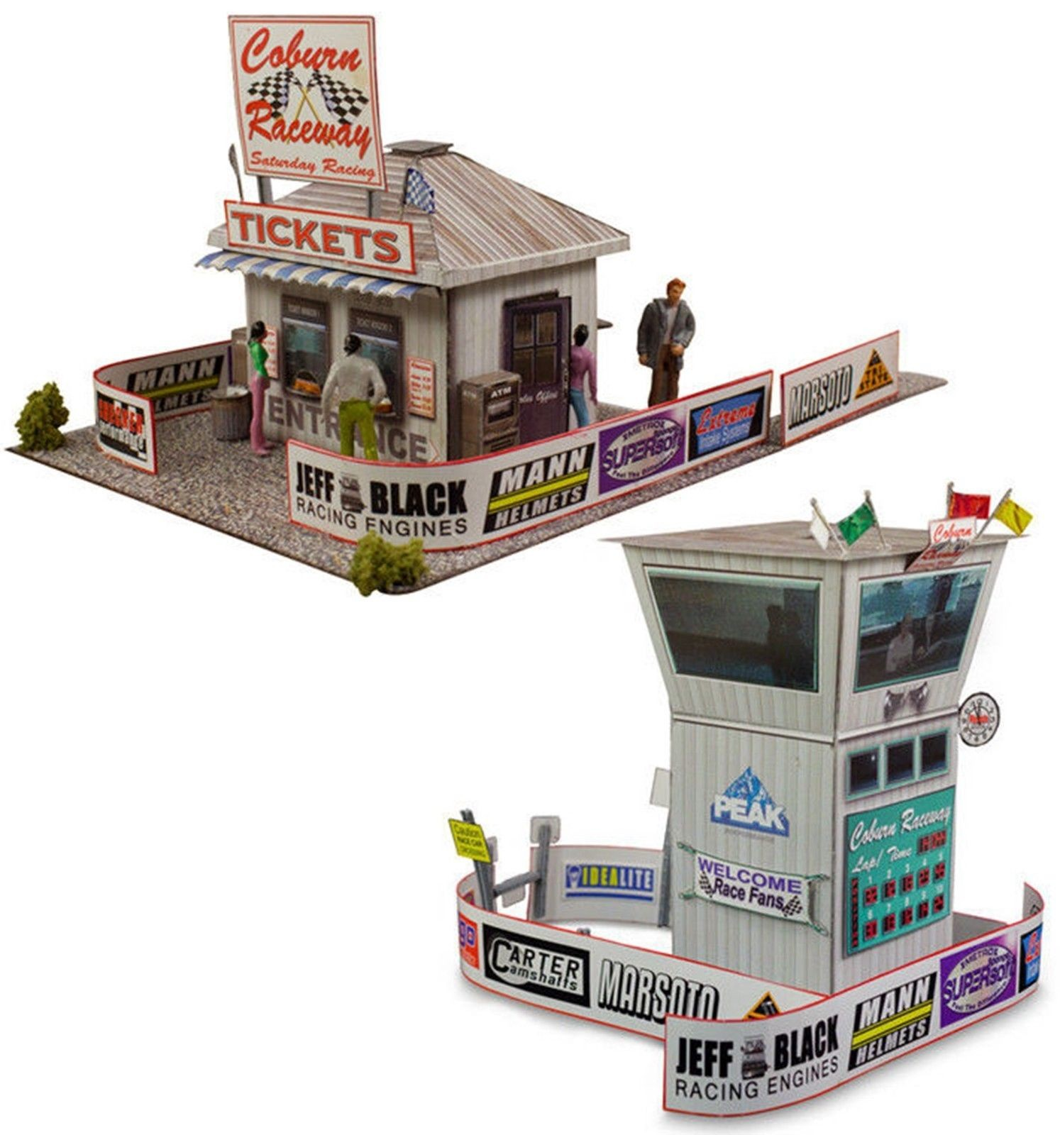 """BK 8701 1:87 Scale """"Race Tower & Ticket Gate Entrance"""" Photo Real Scale Building Kit"""