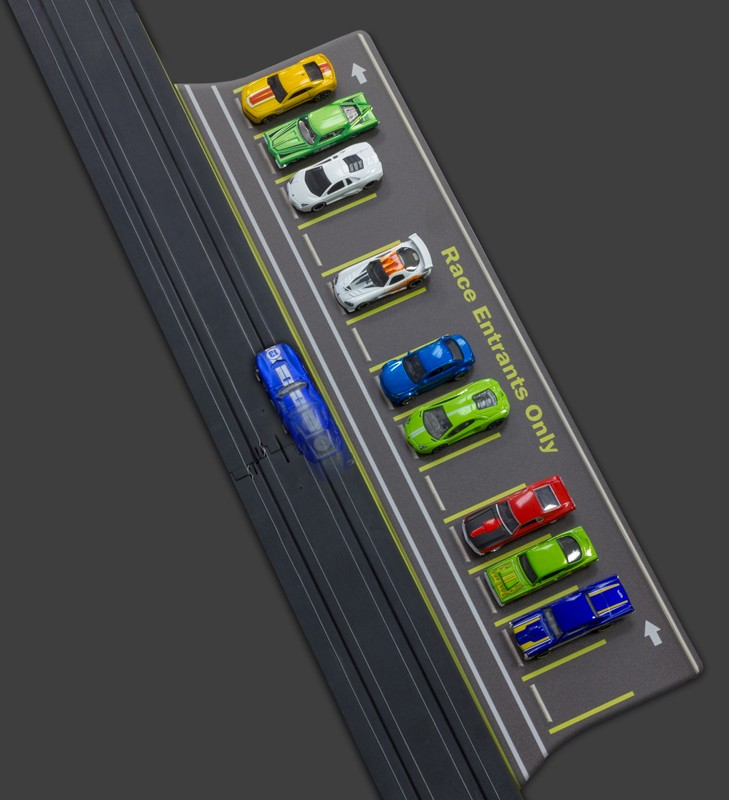 PL1011 1:64 Scale Slot Car HO Trackside Straight Parking Lot and Staging Area, fits AFX, Aurora, Tyco, Tomy, Johnny Lighting