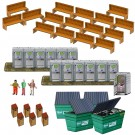"""BK 6430 1/64 Scale Slot Car Photo Real """"Porta Potty's, Park Benches, Trash Cans"""""""
