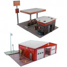 """BK 8711 1:87 Scale """"Gas Station & Fire Department"""" Photo Real Scale Building Kit"""