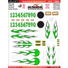 MG 3600-2 Ultracal Candy Green Xtreme Flame RC Decals & Chrome FX for 1:10 and 1:18 Scale