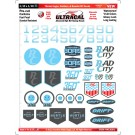 MG 3630-1 Ultracal Ice Blue Themed Logos, Numbers, & Roundel RC Decals for 1:10 and 1:18 Scale