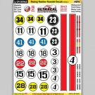 MG 6400-1 Ultracal Racing Number Roundel Style 1 Decals 1:24 Scale