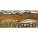 "BK 8700 1:87 Scale ""Sandstone & Brick Rambler Houses"" Photo Real Scale Building Kit"